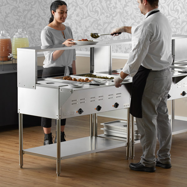 ServIt Three Pan Open Well Electric Steam Table with Undershelf, Overshelf, and Sneeze Guard - 120V, 1500W