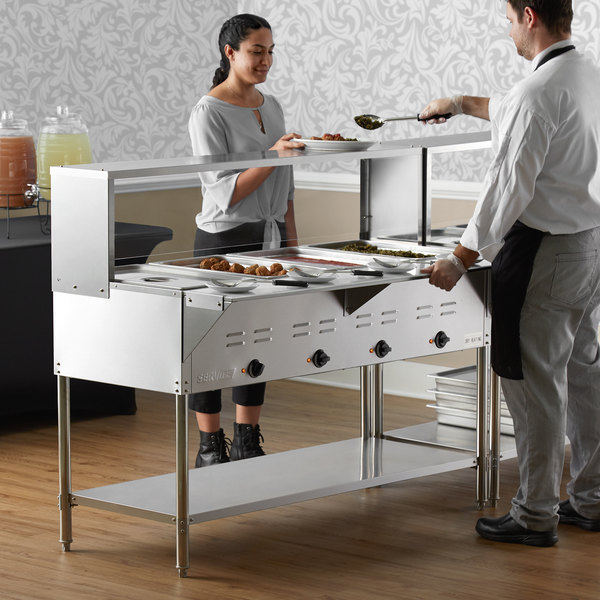 ServIt Four Pan Open Well Electric Steam Table with Undershelf, Overshelf, and Sneeze Guard - 208/240V, 3000W