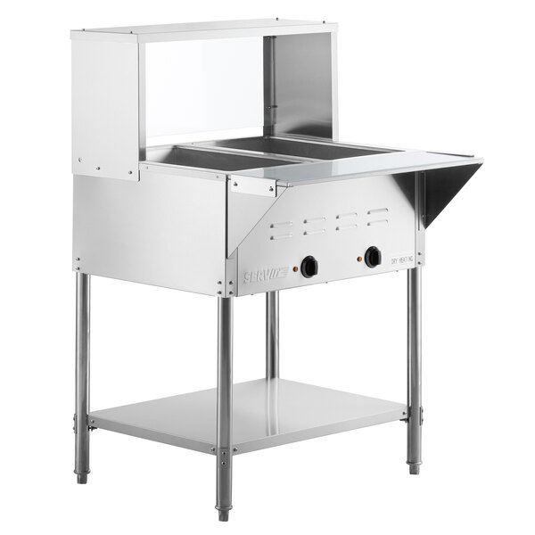 ServIt Two Pan Open Well Electric Steam Table with Undershelf, Overshelf, and Sneeze Guard - 120V, 1000W Main Image 1