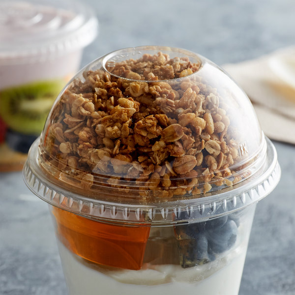 Fabri-Kal DLGC16/24NH Greenware 16 and 24 oz. Compostable Clear Plastic Dome Lid with No Hole - 1000/Case