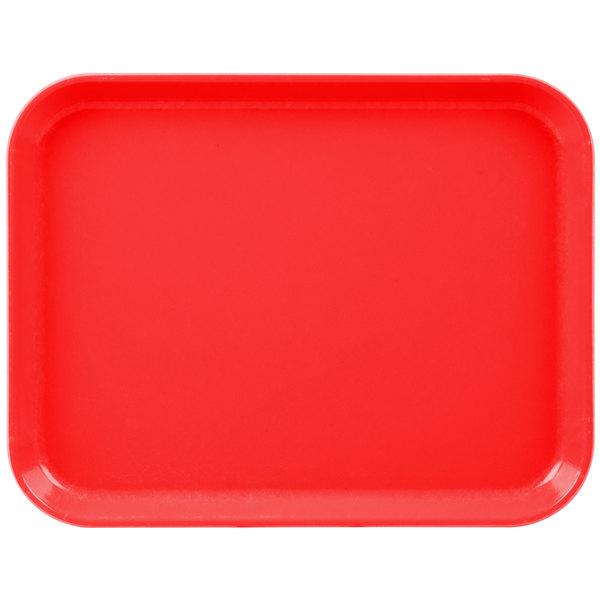 """Cambro 1014CL163 10"""" x 14"""" Red Camlite Tray - 12/Case"""