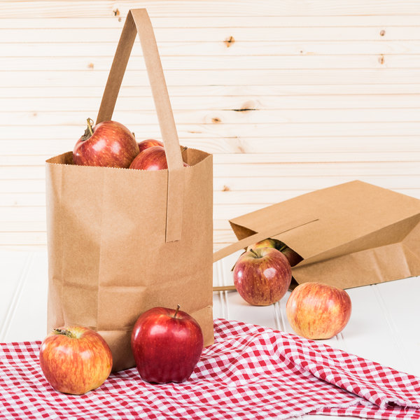 """1/4 Peck """"Freshman"""" Natural Brown Kraft Paper Produce Customizable Market Stand Bag with Handle - 500/Case Main Image 3"""