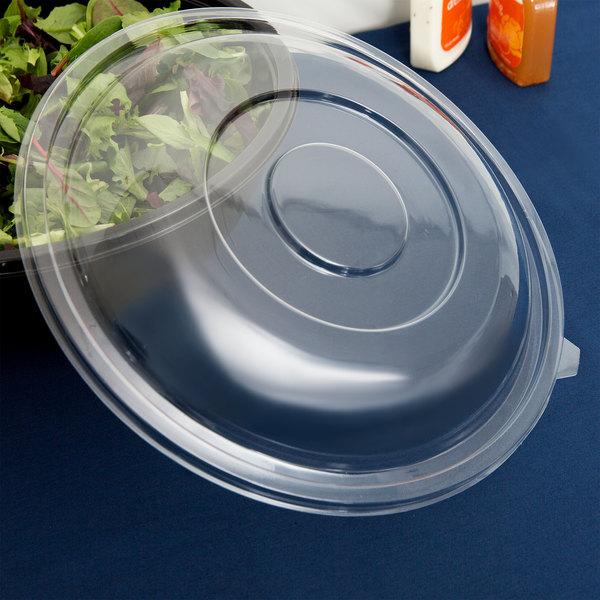 Fineline 5320-L Super Bowl Clear PET Plastic Dome Lid for 320 oz. Bowls - 5/Pack Main Image 6