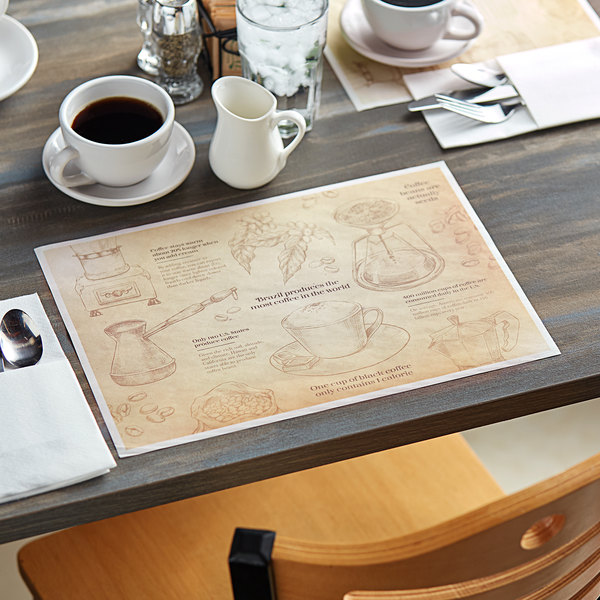 "Choice 10"" x 14"" Coffee Themed Paper Placemat - 1000/Case Main Image 2"