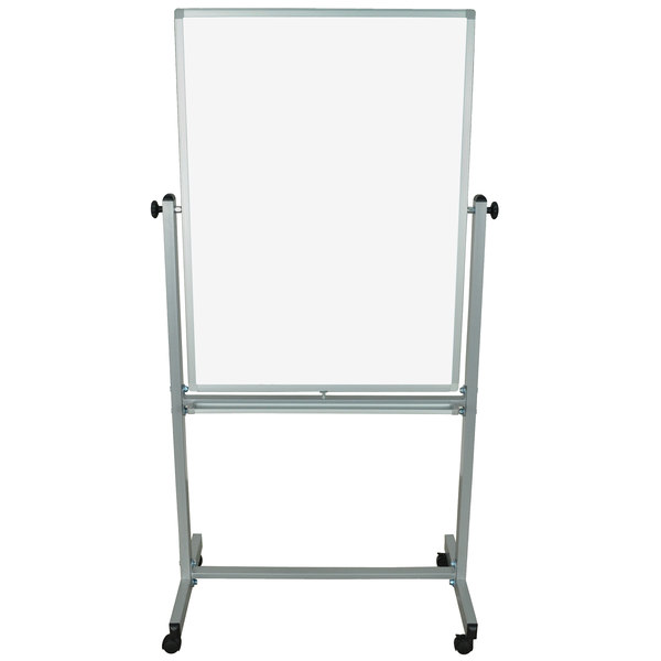 """Luxor MB3040WW 29 7/8"""" x 39 3/8"""" Double-Sided Whiteboard with Aluminum Frame and Stand"""