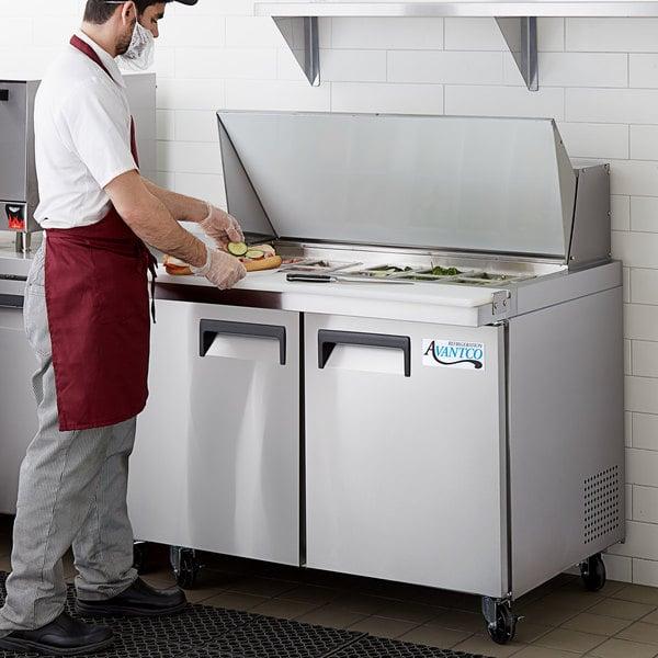 "Avantco APT-48M-HC 48"" 2 Door Mega Top Refrigerated Sandwich Prep Table Main Image 6"