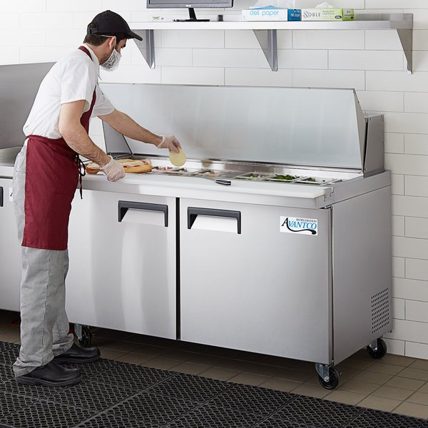 "Avantco APT-60M-HC 60"" 2 Door Mega Top Refrigerated Sandwich Prep Table Main Image 6"