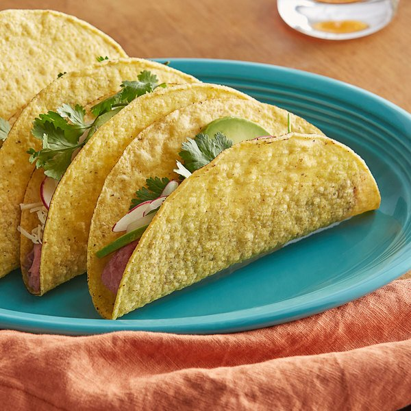 """Mission 25-Pack 6"""" Yellow Corn Hard Taco Shell - 8/Case"""