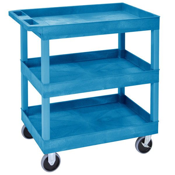 "Luxor EC111HD-BU Blue Three Tub Shelf Utility Cart - 18"" x 35 1/4"" x 37 1/4"" Main Image 1"