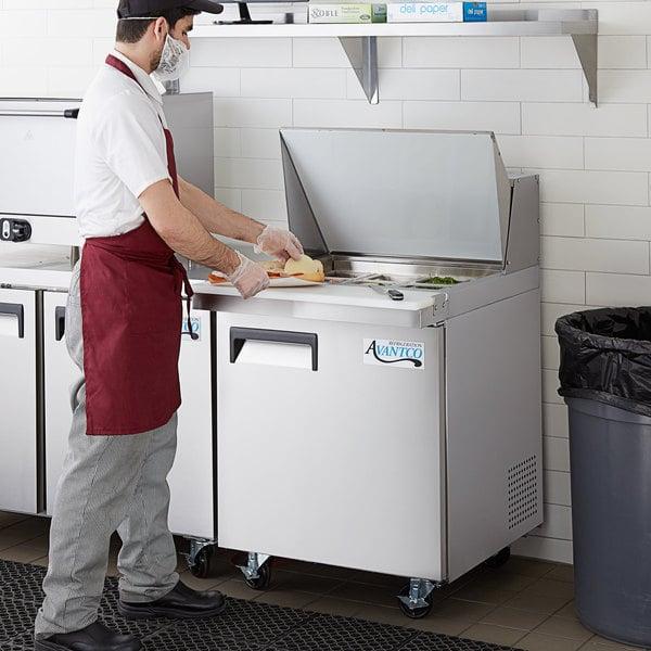 "Avantco APT-27M-HC 27"" 1 Door Mega Top Refrigerated Sandwich Prep Table Main Image 6"