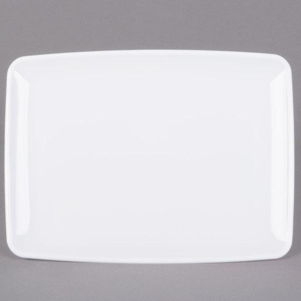 Sabert 2308 Mozaik 11 inch x 8 inch White Rectangular Polystyrene Platter / Catering Tray - 72/Case