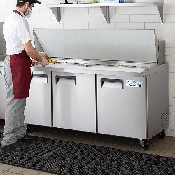 "Avantco APT-71M-HC 71"" 3 Door Mega Top Refrigerated Sandwich Prep Table Main Image 7"