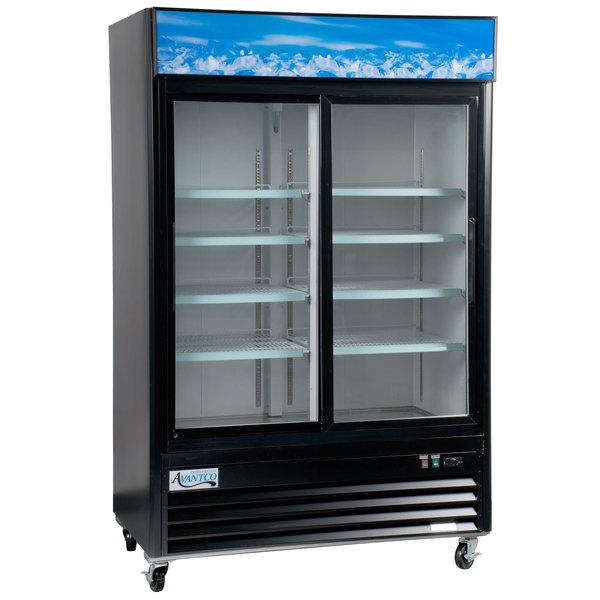 "Avantco GDS-33-HCB 40"" Black Sliding Glass Door Merchandiser Refrigerator with LED Lighting Main Image 1"