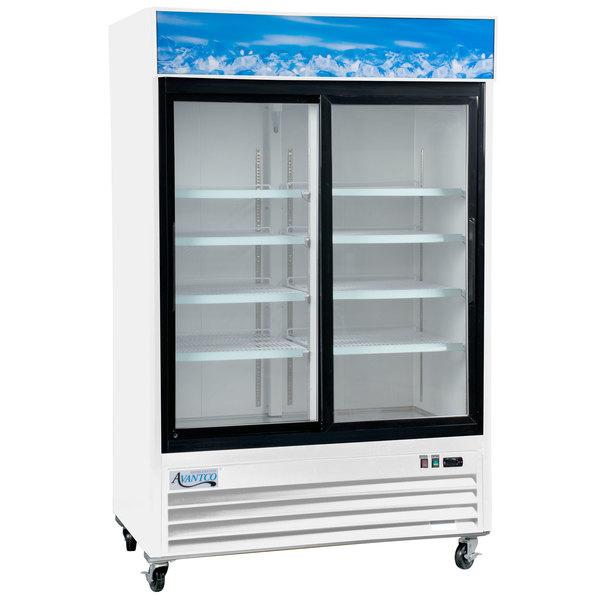 "Avantco GDS-33-HCW 40"" White Sliding Glass Door Merchandiser Refrigerator with LED Lighting Main Image 1"