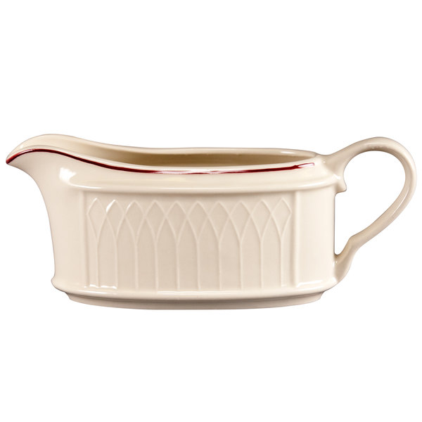 Homer Laughlin 1492-0319 Gothic Maroon Jade 11.75 oz. Off White Sauce Boat - 36/Case