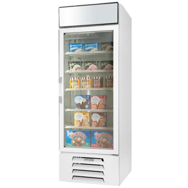 "Beverage-Air MMF23HC-1-W-IQ MarketMax 27"" White Glass Door Merchandiser Freezer with Electronic Lock"