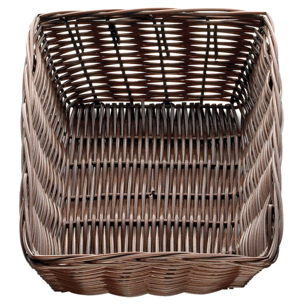 "Tablecraft 1472 9"" x 6"" x 2 1/2"" Brown Rectangular Rattan Basket - 12/Pack"