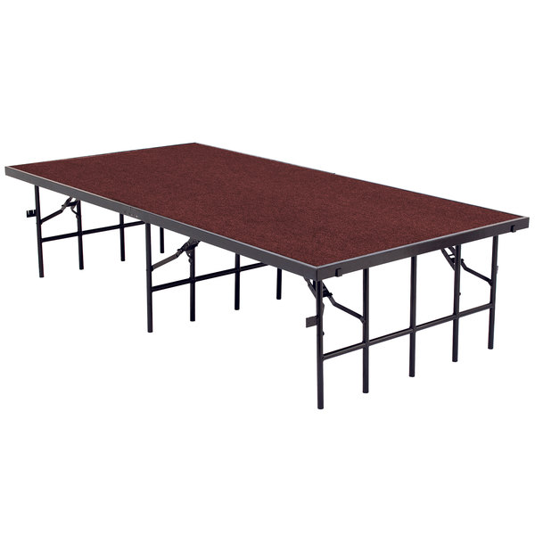 "National Public Seating S4816C Single Height Portable Stage with Red Carpet - 48"" x 96"" x 16"""