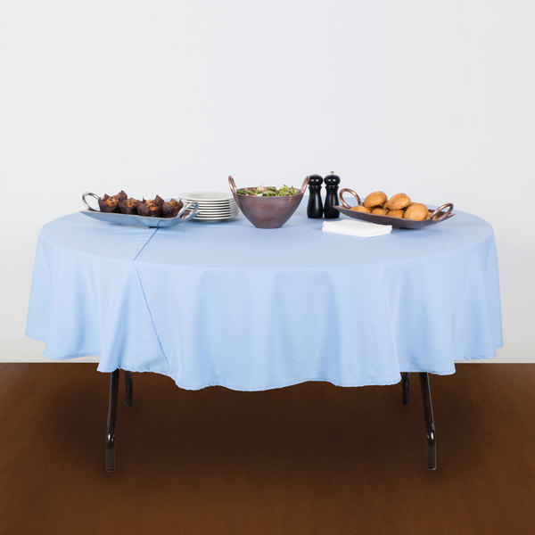 """90"""" Round Light Blue 100% Polyester Hemmed Cloth Table Cover"""