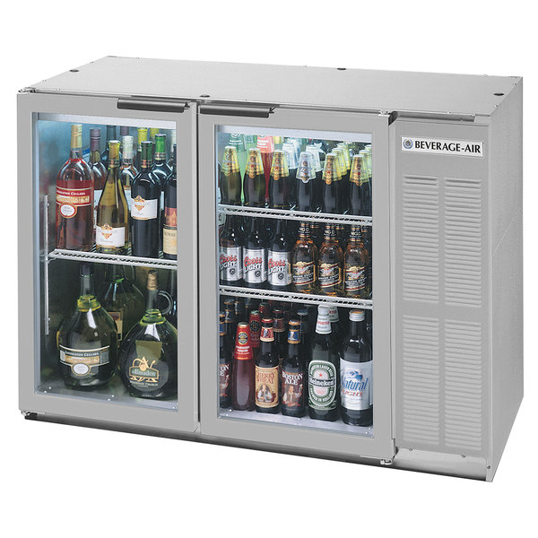"""Beverage-Air BB48HC-1-FG-S 48"""" Stainless Steel Underbar Height Glass Door Food Rated Back Bar Refrigerator Main Image 1"""