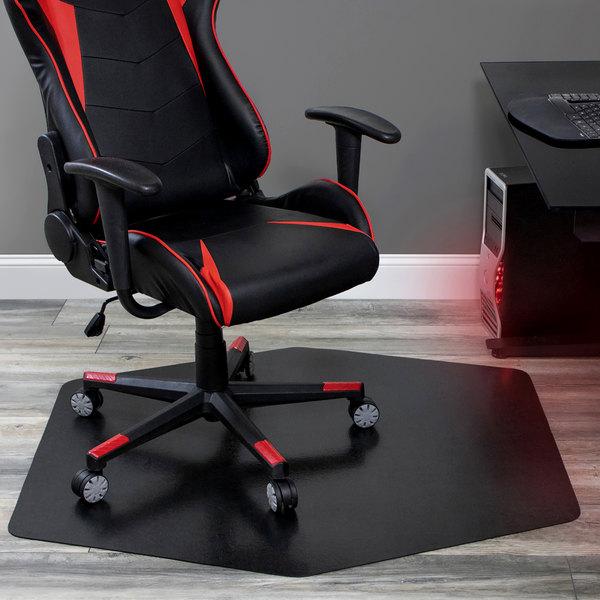 Es Robbins 121563 42 X 46 Black Vinyl Hexagon Straight Edge Ultimate Game Zone Chair Mat