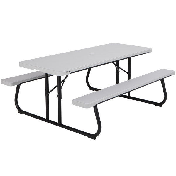 Awe Inspiring Lifetime 60265 30 X 72 Rectangular Gray Plastic Folding Picnic Table With Attached Benches Squirreltailoven Fun Painted Chair Ideas Images Squirreltailovenorg