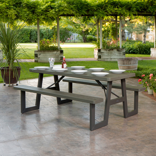 Amazing Lifetime 60233 30 X 72 Rectangular Brown Plastic Folding Picnic Table With Attached Benches Ibusinesslaw Wood Chair Design Ideas Ibusinesslaworg