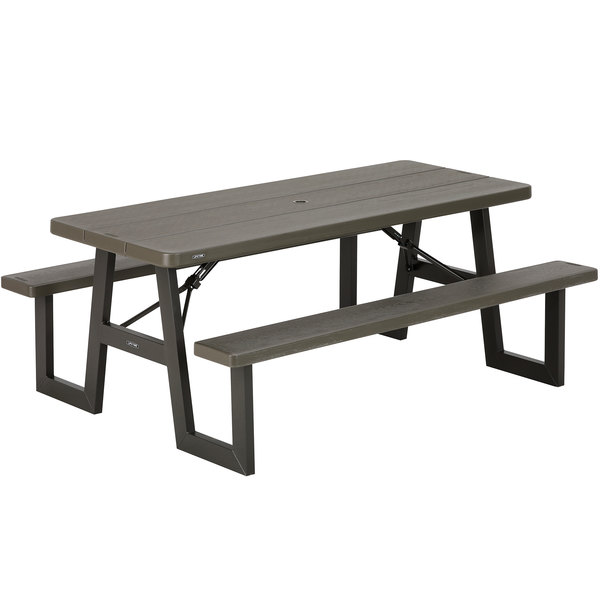 Groovy Lifetime 60233 30 X 72 Rectangular Brown Plastic Folding Picnic Table With Attached Benches Squirreltailoven Fun Painted Chair Ideas Images Squirreltailovenorg