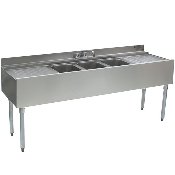 """Eagle Group B6C-22 72"""" Underbar Sink with Three Compartments and Two Drainboards"""