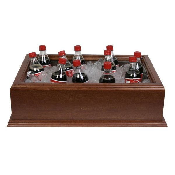 26 inch x 18 inch x 6 inch Large Wooden Beverage Display / Housing with Mahogany Finish