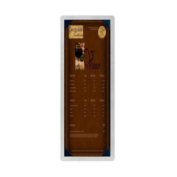 "4 1/4"" x 14"" Menu Solutions ALSIN44-PIX Alumitique Single Panel Brushed Aluminum Menu Board with Picture Corners"