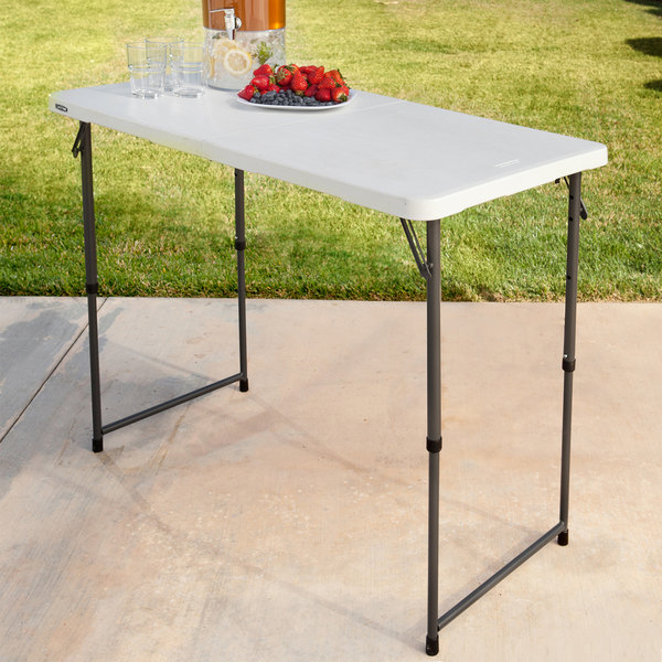 White Granite Lifetime 4 Fold-in-Half Adjustable Table