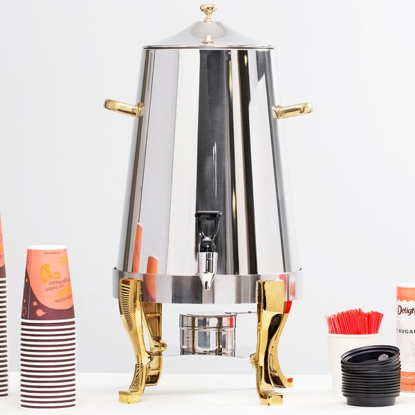 Choice Deluxe Stainless Steel 80 cup Coffee Chafer Urn with Gold Accents - 5 Gallon Main Image 2