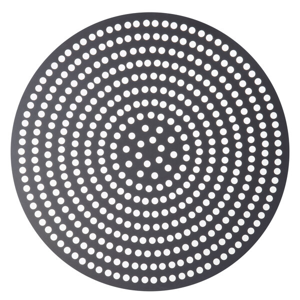 """American Metalcraft 18910SPHC 10"""" Super Perforated Pizza Disk - Hard Coat Anodized Aluminum Main Image 1"""