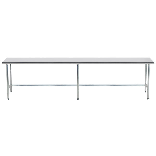 """Advance Tabco TGLG-3611 36"""" x 132"""" 14 Gauge Open Base Stainless Steel Commercial Work Table"""
