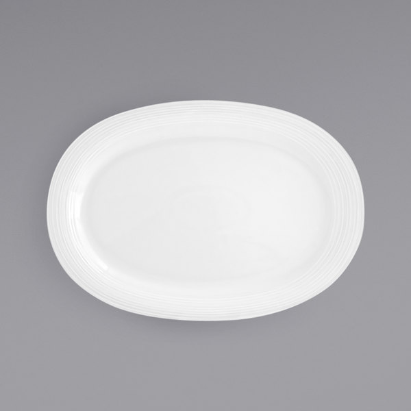 """Front of the House DOS012WHP12 Spiral 14"""" x 9 3/4"""" White Oval Porcelain Platter - 6/Case Main Image 1"""
