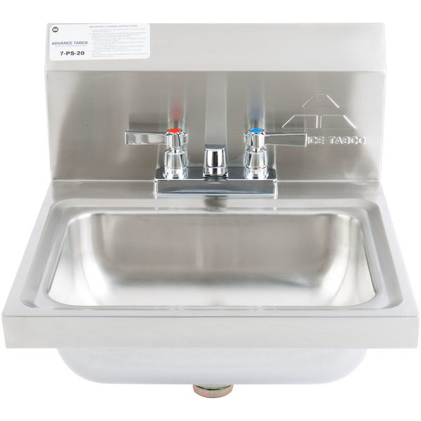 Advance Tabco 7 PS 20 Stainless Steel Hand Sink With Faucet And Backsplash