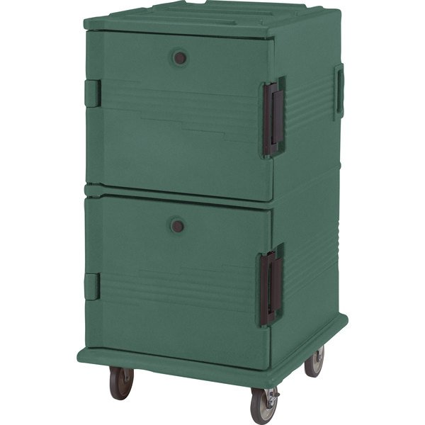 Cambro UPC1600HD192 Ultra Camcarts® Granite Green Insulated Food Pan Carrier with Heavy-Duty Casters - Holds 24 Pans Main Image 1
