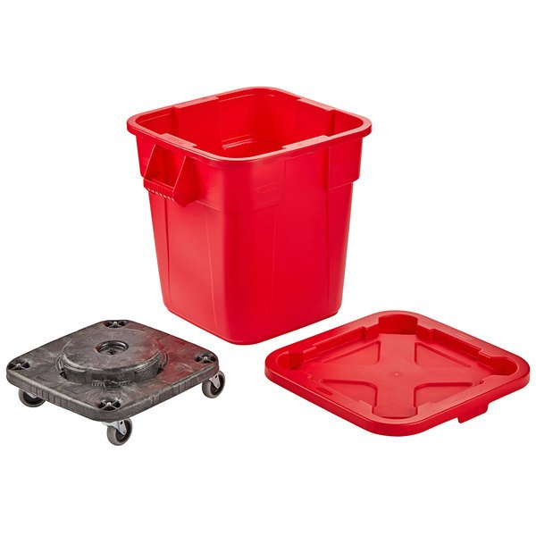Rubbermaid BRUTE 28 Gallon Red Square Trash Can with Lid and Dolly