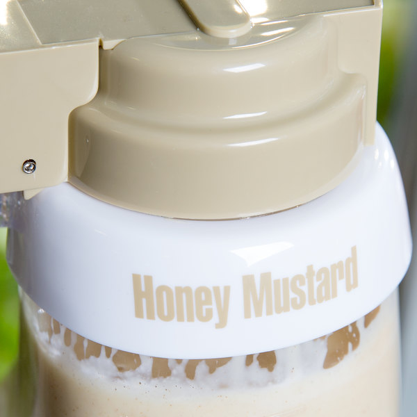 "Tablecraft CB10 Imprinted White Plastic ""Honey Mustard"" Salad Dressing Dispenser Collar with Beige Lettering"
