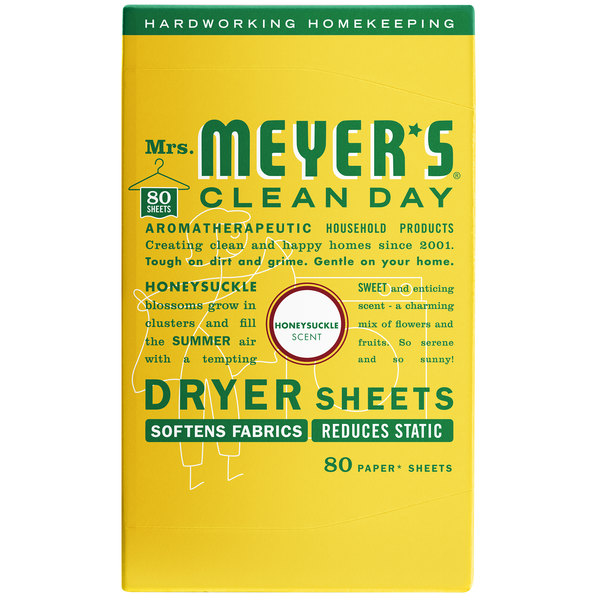Mrs. Meyer's Clean Day 675597 80-Count Honeysuckle Dryer Sheets - 12/Case Main Image 1