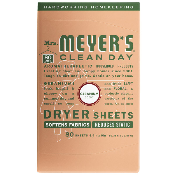 Mrs. Meyer's Clean Day 651362 80-Count Geranium Dryer Sheets - 12/Case Main Image 1