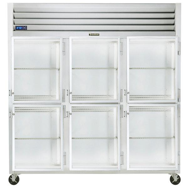 "Traulsen G32002-032 76 1/4"" G Series Glass Half Door Reach-In Refrigerator with Right Hinged Doors Main Image 1"