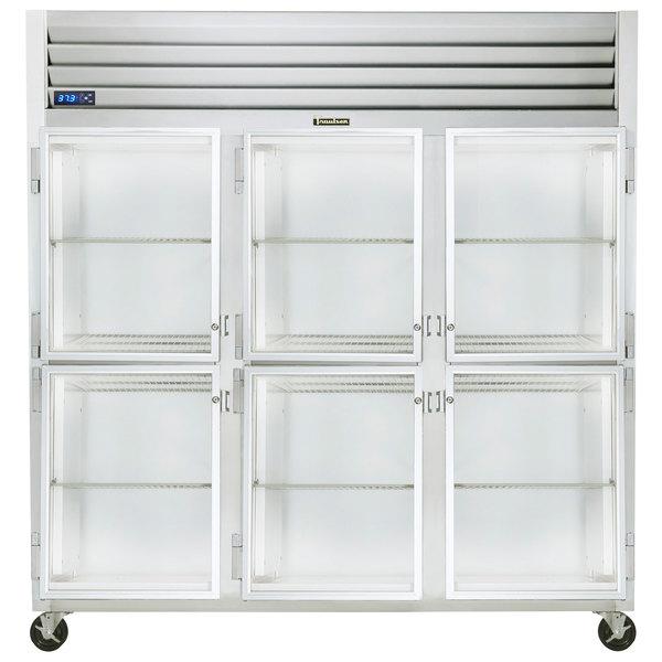 "Traulsen G32001-032 76 1/4"" G Series Glass Half Door Reach-In Refrigerator with Left / Left / Right Hinged Doors Main Image 1"