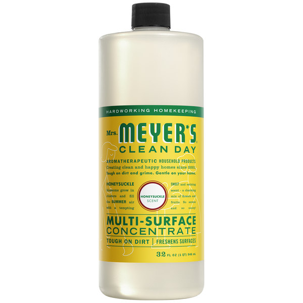 Mrs. Meyer's Clean Day 663123 32 oz. Honeysuckle All Purpose Multi-Surface Cleaner Concentrate - 6/Case Main Image 1
