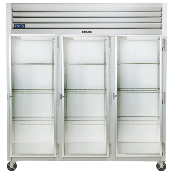 """Traulsen G32012-032 76 1/4"""" G Series Glass Door Reach-In Refrigerator with Right Hinged Doors Main Image 1"""