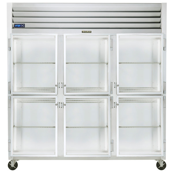 """Traulsen G32000-032 76 1/4"""" G Series Glass Half Door Reach-In Refrigerator with Left / Right / Right Hinged Doors Main Image 1"""