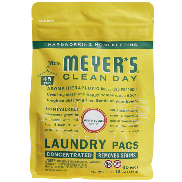 Mrs. Meyer's Clean Day 306116 Honeysuckle 45-Count Laundry Detergent Pack - 6/Case Main Image 1