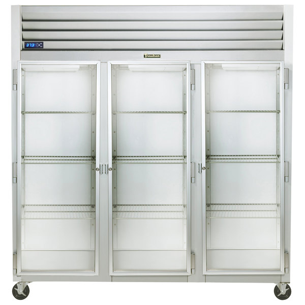 """Traulsen G32010-032 76 1/4"""" G Series Glass Door Reach-In Refrigerator with Left / Right / Right Hinged Doors Main Image 1"""