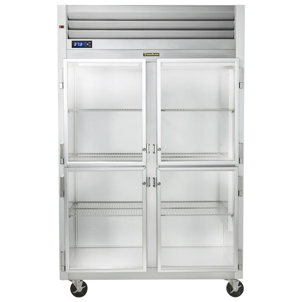 "Traulsen G21000-032 52"" G Series Glass Half Door Reach-In Refrigerator with Left / Right Hinged Doors Main Image 1"
